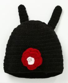 MayRa Knits Flower Applique Cap - Black
