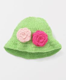 MayRa Knits Cap With Flower Applique - Green
