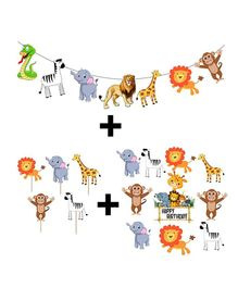 Party Propz Safari Jungle Theme Cut Outs & Cupcake Toppers Combo Multicolour - 23 Pieces