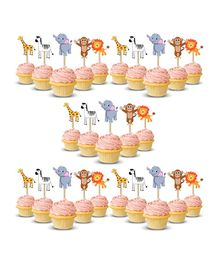 Party Propz Jungle Theme Cup Cake Toppers Multicolour - 25 Pieces