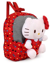 Hello Kitty School Bag With Detachable Toy Red & White - Height 14 inches