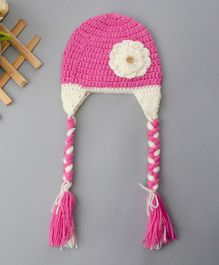 Buttercup From KnittingNani Woolen Cap With Braided Strings - Pink