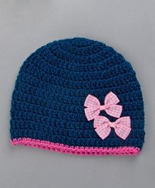 Buttercup From Knitting Nani Woolen Cap Bow Appliques - Blue