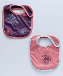 Nino Bambino Organic Cotton Bib Set Pack of 2 - Purple & Peach