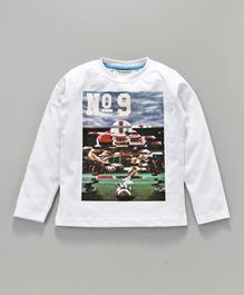Lazy Bones Full Sleeves Tee Rugby Print - White