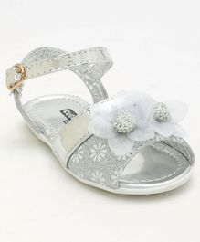 Cute Walk by Babyhug Party Wear Sandal With Floral Motif - Silver