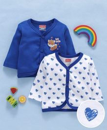 Babyhug Full Sleeves Cotton Vests Pack of 2 - White Royal Blue