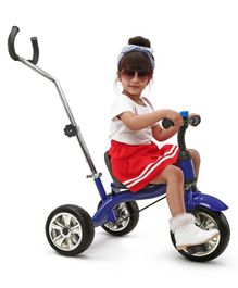 Babyhug Pluto Metal Tricycle With Parent Push Handle - Blue