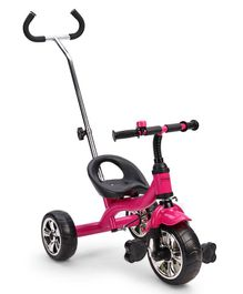Babyhug Pluto Metal Tricycle With Parent Push Handle - Fuchsia