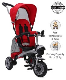 Babyhug Gladiator Metal Tricycle With 360 Degree Rotating Seat & Parent Push Handle - Red