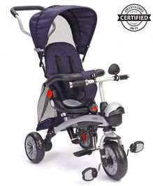 Babyhug Gladiator Metal Tricycle With 360 Degree Rotating Seat & Parent Push Handle - Navy Blue