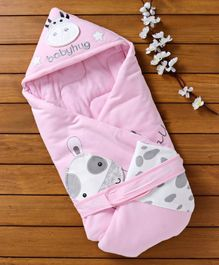 Babyhug Hooded Wrapper Cow Applique - Pink