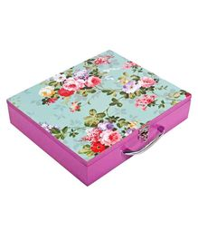 Li'll Pumpkins Medium Wooden Storage Box Floral Print - Green