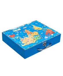 Li'll Pumpkins Medium Wooden Storage Box Map Print - Blue