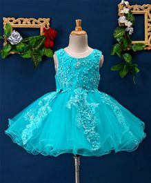 Mark & Mia Beads & Flower Applique Sleeveless Net Dress - Blue