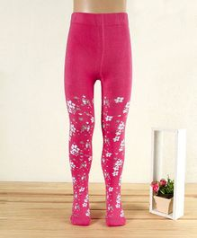 Mustang Footed Tights Flower Design - Fuchsia