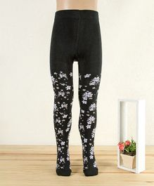 Mustang Floral Footed Tights - Black