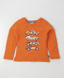 Lazy Bones Full Sleeves Tee Car Print - Orange