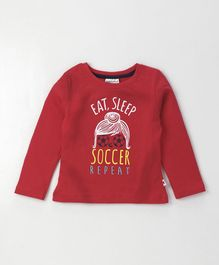 Lazy Bones Full Sleeves Tee Soccer Print - Red