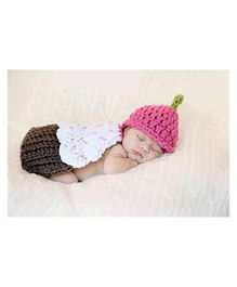 Babymoon Crochet Cake Cap New Born Baby Photography Props Set of 2 - Multil Color