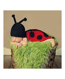 Babymoon Bee Long Tail Cap New Born Baby Photography Props - Red Black