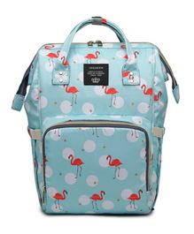 Babymoon Multifunctional Mother Bag Diaper Backpack Bag with Insulated Pockets - Flamingo Blue