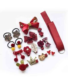 BabyMoon Photo Prop Head Accessory Set Maroon - 18 Pieces