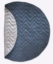 Masilo-Linen For Littles Circular Quilted Play Mat - Navy Blue