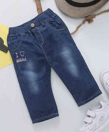 Happiness I Love Mom & Dad Print Full Length Jeans - Dark Blue