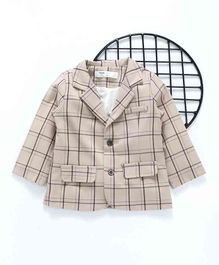 Happiness Chequered Full Sleeves Blazer - Beige