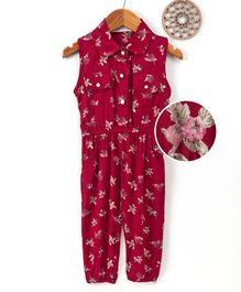 Happiness Floral Printed Sleeveless Jumpsuit - Red