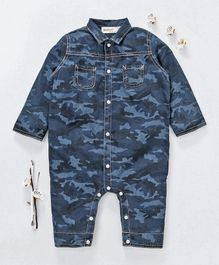 Champ Camouflage Print Full Sleeves Romper - Blue