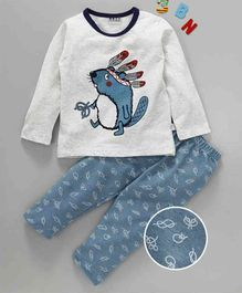 Kai Kai Rat With A Crown Print Night Suit - Blue
