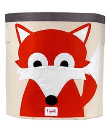3 Sprouts Storage Bin Fox Design - Beige & Red
