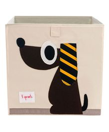 3 Sprouts Storage Box-Dog - Beige & Brown