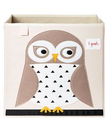3 Sprouts Storage Box Owl Print - White & Beige