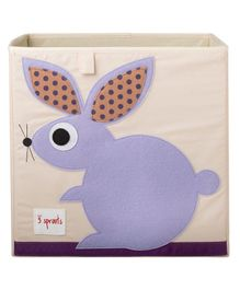 3 Sprouts Storage Box Rabbit Print - White & Purple