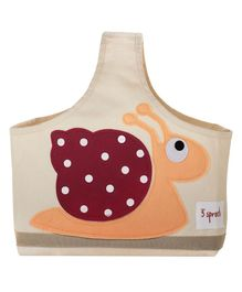 3 Sprouts Caddy Bag Snail Print - Cream & Orange