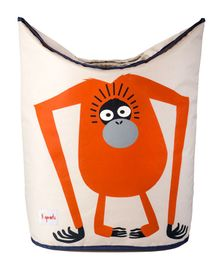 3 Sprouts Laundry Tote Bag Orangutan Print - Orange