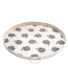 3 Sprouts Storage Bag Cum Play Mat Hedgehog Print - Grey & Off White