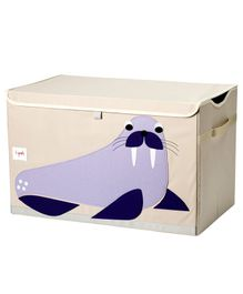 3 Sprouts Toy Chest Storage Walrus Print - Light Pink & Purple