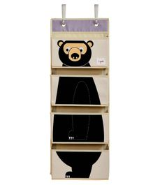 3 Sprouts Hanging Wall Organiser Bear Print - Light Pink & Black