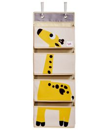 3 Sprouts Hanging Wall Organiser Giraffe Print - Light Pink & Yellow