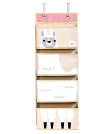 3 Sprouts Hanging Wall Organiser Llama Print - Light Pink & White