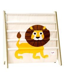 3 Sprouts Book Rack Lion Print - Yellow & White