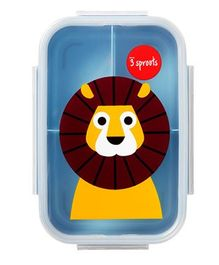 3 Sprouts Lion Print Lunch Box - Yellow & Blue