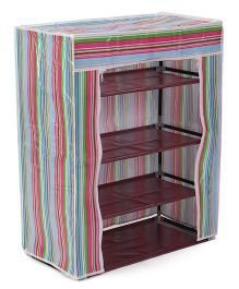Four Compartment Storage Rack - Pink & Multi Colour