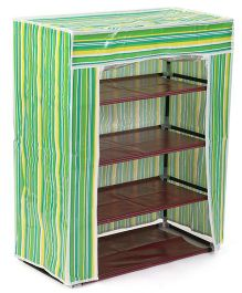Four Compartment Storage Rack - Green & Multi Colour