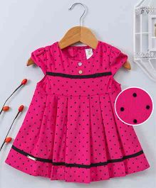 Bee Born Polka Dot Print Cap Sleeves Dress - Hot Pink