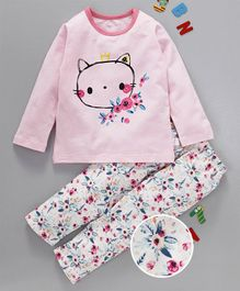 Kai Kai Kitten Face Print Night Suit - Pink